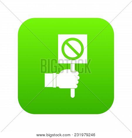 Hand Showing Stop Signboard Icon Digital Green For Any Design Isolated On White Vector Illustration