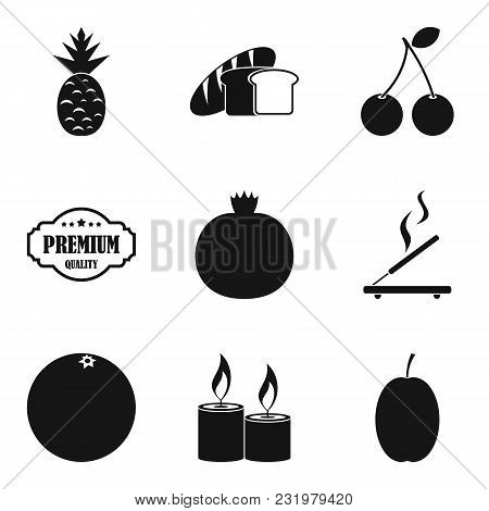 Vegetarian Lounge Icons Set. Simple Set Of 9 Vegetarian Lounge Vector Icons For Web Isolated On Whit