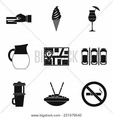 Vegetarian Tavern Icons Set. Simple Set Of 9 Vegetarian Tavern Vector Icons For Web Isolated On Whit