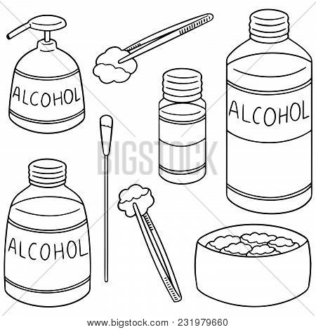 Vector Set Of Forcep, Alcohol And Sterile Cotton Hand Drawn Cartoon