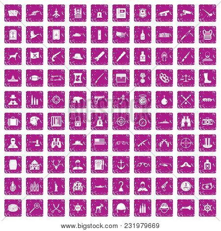 100 Bullet Icons Set In Grunge Style Pink Color Isolated On White Background Vector Illustration