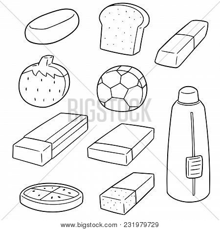 Vector Set Of Eraser Hand Drawn Cartoon