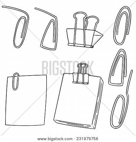 Vector Set Of Paper Clip Hand Drawn Cartoon