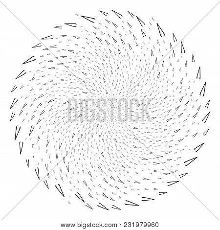 Tweezers Twirl Circle. Object Whirlpool Designed From Randomized Tweezers Items. Vector Illustration