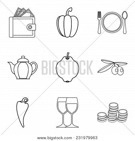 Dietary Cafe Icons Set. Outline Set Of 9 Dietary Cafe Vector Icons For Web Isolated On White Backgro