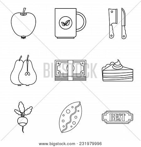 Dietary Baking Icons Set. Outline Set Of 9 Dietary Baking Vector Icons For Web Isolated On White Bac