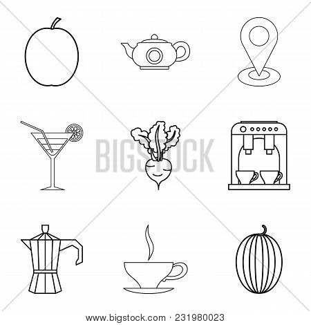 Vegetarian ration icons set. Outline set of 9 vegetarian ration vector icons for web isolated on white background poster