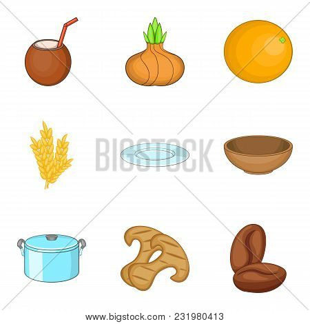 Proper Nutrition Icons Set. Cartoon Set Of 9 Proper Nutrition Vector Icons For Web Isolated On White