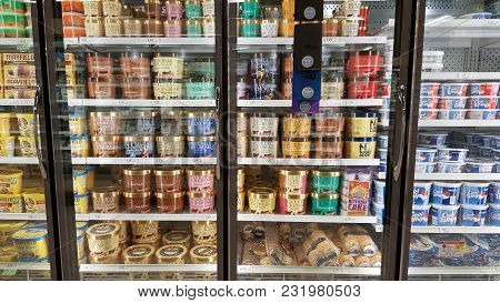 Blue Bell Ice Cream Area In The Frozen Freezer Section Of A Grocery Store, Myrtle Beach, South Carol