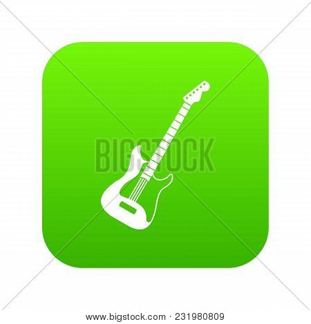 Acoustic Guitar Icon Digital Green For Any Design Isolated On White Vector Illustration