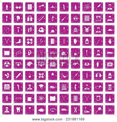 100 Ambulance Icons Set In Grunge Style Pink Color Isolated On White Background Vector Illustration