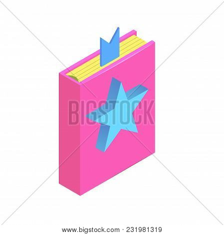 Isometric Book With Star Simple Icon. Favorite Book Concept Vector Illustration