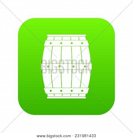 Wooden Barrel Icon Digital Green For Any Design Isolated On White Vector Illustration