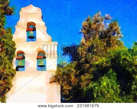Very nice original Watercolor painting of a California Mission