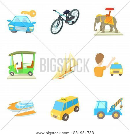 Transport Vehicle Icons Set. Cartoon Set Of 9 Transport Vehicle Vector Icons For Web Isolated On Whi