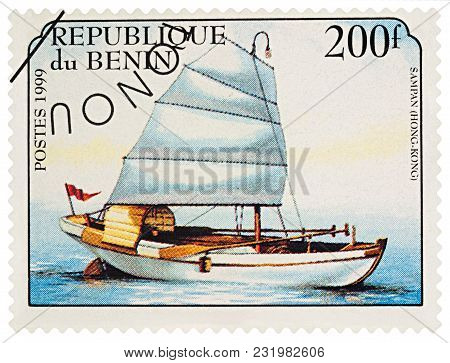 Moscow, Russia - March 20, 2018: A Stamp Printed In Benin Shows Old Traditional Sailing Boat Sampan