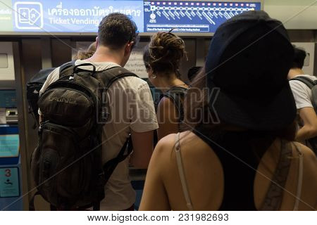 Bangkok, Thailand - January 26, 2018 : Ticket Office At The Mrt Hua Lamphong Railway Station. Uniden