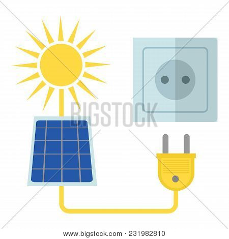 Solar Energy Icon. Flat Illustration Of Solar Energy Vector Icon For Web