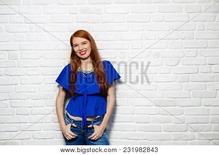 Portrait Of Happy White Woman Smiling. Caucasian Redhead Girl Laughing And Looking At Camera. Copy S