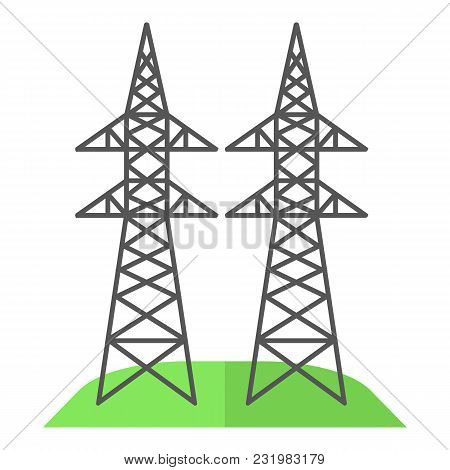 Electricity Pole Icon. Flat Illustration Of Electricity Pole Vector Icon For Web