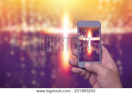 Cross In Screen Mobile Phone, Spirituality Religion Online Concept