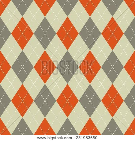 Seamless Argyle Pattern. Retro Orange And Brown Colors. Vector.