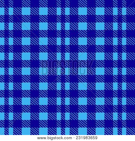 Blue Seamless Tablecloth Vector. Airy Blue And Riverside Color. Seamless Traditional Tablecloth Patt
