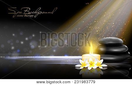 Still Life With Spring Blossom With White Candle And Black Stones On Dark Background. Vector Spa Adv