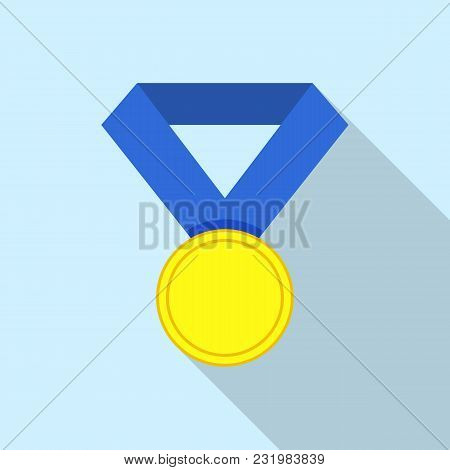 First Place Medal Icon. Flat Illustration Of First Place Medal Vector Icon For Web