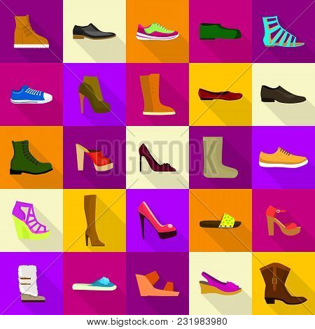 Footwear Shoes Icons Set. Flat Illustration Of 25 Footwear Shoes Vector Icons For Web