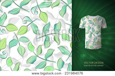 Seamless Pattern With Green Watercolor Leaves With Ink Outlines On T-shirt Mockup. Summer Hand Drawn
