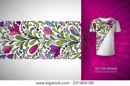 Seamless Floral Pattern On T-shirt Mockup. Seamless Border With Hand Draw Fantasy Flowers. Bright Co