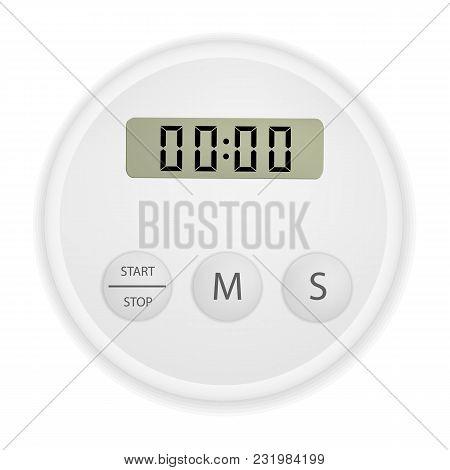 Electronic Timer Mockup. Realistic Illustration Of Electronic Timer Vector Mockup For Web