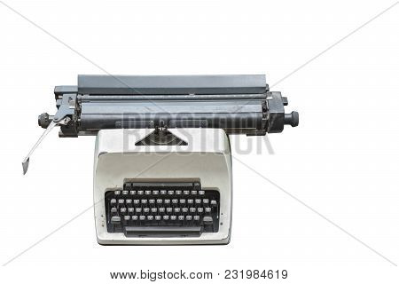 Front View Ancient White Typewriter On White Background,old,object,copy Space
