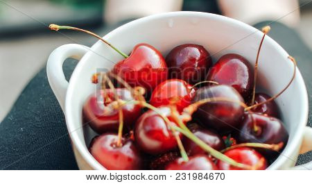 Sweet Cherry Close-up Macro, Lies On A Plate. Antioxidant, Natural, Vitamin, Organic Berry. Drops Of