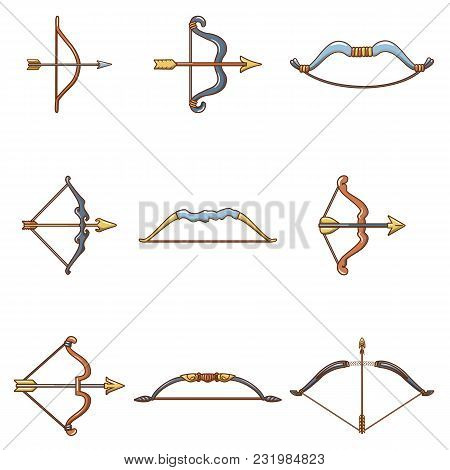 Bow Arrow Weapon Icons Set. Cartoon Illustration Of 9 Bow Arrow Weapon Vector Icons For Web