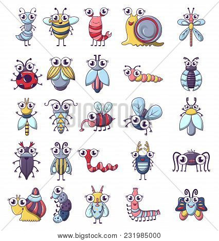 Bug Funny Insect Icons Set. Cartoon Illustration Of 25 Bug Funny Insect Vector Icons For Web
