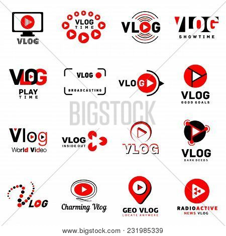 Vlog Video Channel Logo Icons Set. Simple Illustration Of 16 Vlog Video Channel Logo Vector Icons Fo