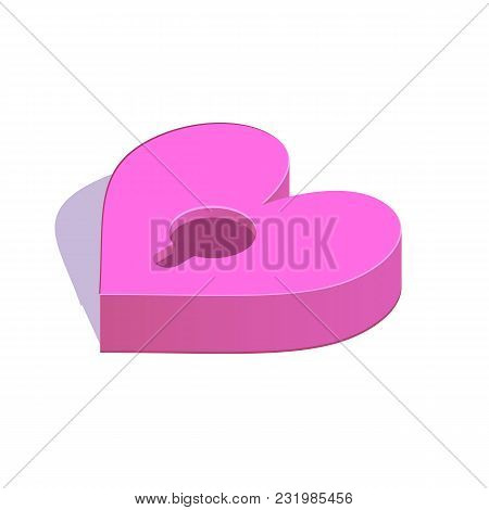 Isometric Heart With A Padlock Simple Icon. Secret Love Concept Vector Illustration