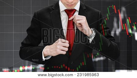 Double Exposure Businessman Tying Red Necktie And Raising Financial Graph. Business Growth, Investme
