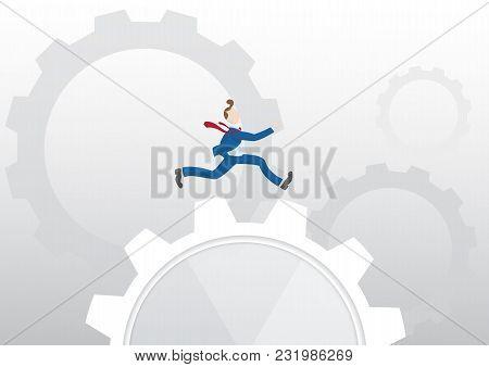 Businessman Running Over Machine Gear Wheel, Cog Wheel Showing Work Life, Action, Strategy, Cooperat