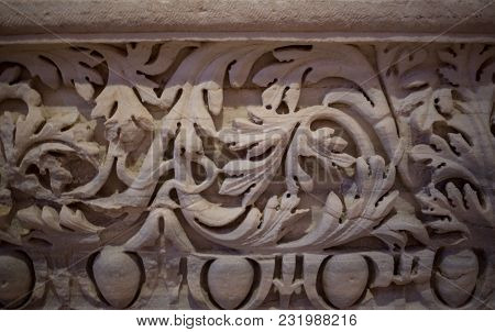 Close-up Shot Of The Magnificent Ornate Detail On The Columns Of The South Facade Of St. Pauls Cathe