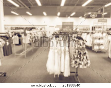 Blurred Toddlers, Babies Clothing At Off-price Department Stores In America