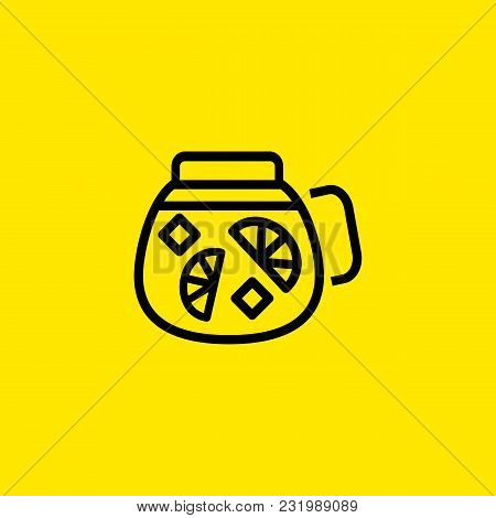 Icon Of Lemonade Jug. Juice, Soft Drink, Citrus. Drinks Concept. Can Be Used For Topics Like Summer,