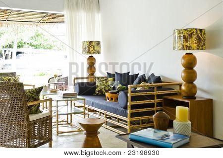 Contemporary Bamboo Sofa Seating Area