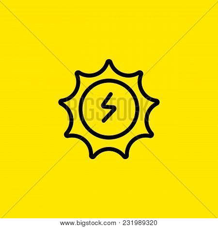 Icon Of Sun Energy Symbol. Sunlight, Lightning, Electricity. Alternative Energy Concept. Can Be Used
