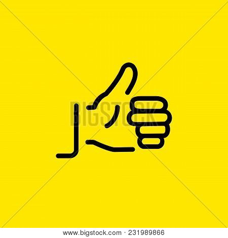 Line Icon Of Hand Showing Thumb Up Gesture. Liking, Encouragement, Satisfaction. Gesture Concept. Ca