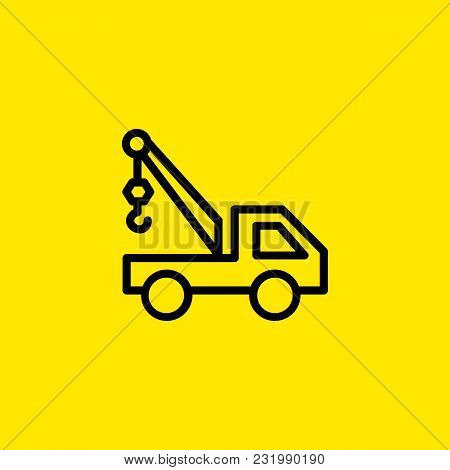 Truck Crane Iconicon Of Truck Crane. Loader, Transportation, Machinery.  Construction Concept. Can B