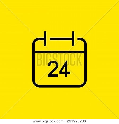 Line Icon Of Twenty Four Hour On Board. Calendar, Personal Organizer, All Day Shop. Business Concept