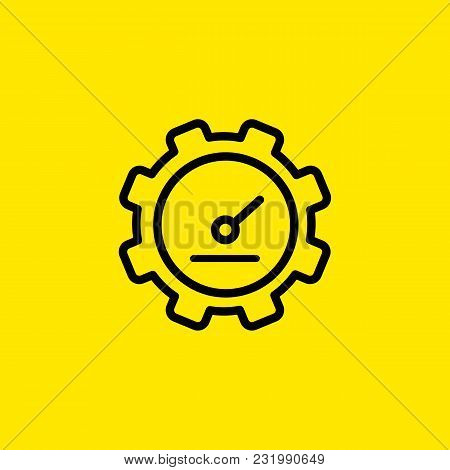 Icon Of Watch In Shape Of Gear Wheel. Clock, Cogwheel, Construction, Display. Time Concept. Can Be U